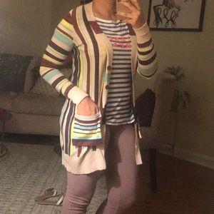 Anthropologie striped long cardigan